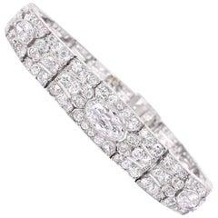 Art Deco Oval Diamond Engraved Platinum Panel Bracelet