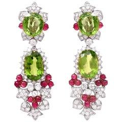 1980s Grand Peridot Girandole Day Night Diamond Chandelier Earrings