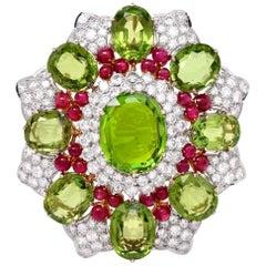 1980s Peridot Ruby Diamond Gold Impressive Brooch Pin and Pendant