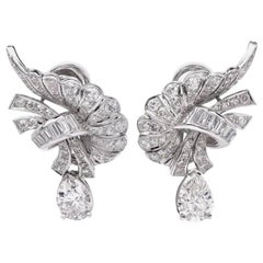 1960s Pear and Baguette Diamond Platinum Clip-Back Earrings