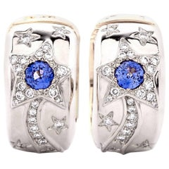 Chanel Reversible Star Sun Diamond Sapphire Earrings