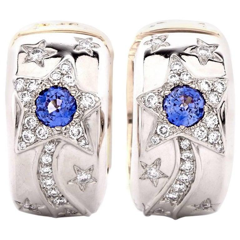 Chanel Reversible Star Sun Diamond Sapphire Earrings