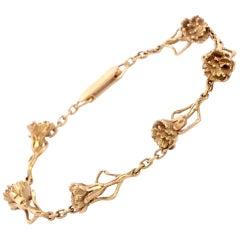 Salvador Dali Vintage 1970s Floral Decor Yellow Gold Bracelet