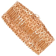Retro Machine Age Design Wide Rose Gold Mesh Bracelet