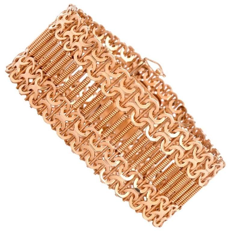 Retro Machine Age Design Wide Rose Gold Mesh Bracelet
