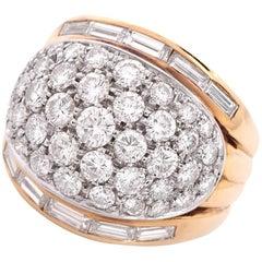 1960s Italian Diamond Gold Dome Cocktail Ring