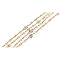Victorian French 18 Karat Gold Filigree Long Chain