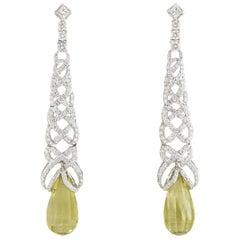 Diamond and Lemon Quartz Earrings