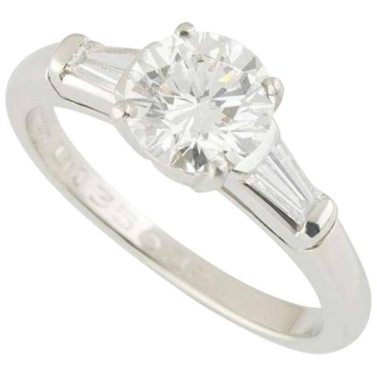 Tiffany & Co. Diamond Platinum Three-Stone Engagement Ring 1.17 Carat