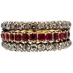 Antique Victorian Old Mine Cut Diamond Ruby Half Hoop Ring