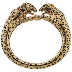 Rare Cartier Paris Panther Black Enamel Gold Bangle