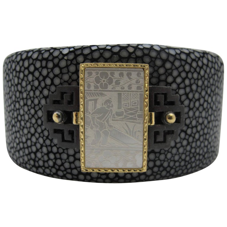 Antique Gaming Counter and Shagreen Cuff