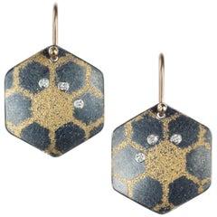 Atelier Zobel Diamond Hexagon Earrings in Oxidized Silver and Yellow Gold