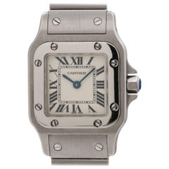 Cartier Ladies Stainless Steel Santos Galbe Quartz Wristwatch, circa 2000s