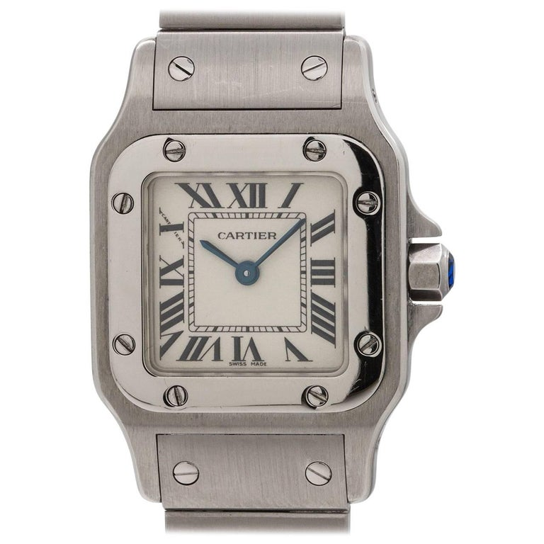 Cartier Ladies Stainless Steel Santos Galbe Quartz Wristwatch, circa 2000s