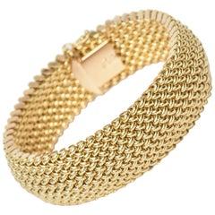 Vintage Italian 14 Karat Gold Chevron Mesh Hallmarked Cuff Bracelet
