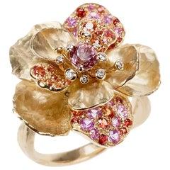 Vendorafa Sapphire and Ruby Flower Ring in 18 Karat Yellow Gold