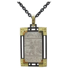 Antique Mother-of-Pearl Gaming Counter Pendant 18K/Silver