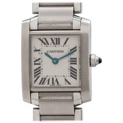 Cartier Ladies Stainless Steel Tank Francaise Quartz Wristwatch, circa 2000s