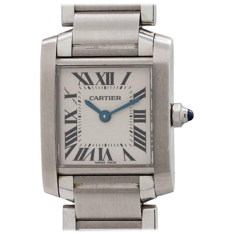 Cartier Ladies Stainless Steel Tank Francaise Quartz Wristwatch, circa 2000s