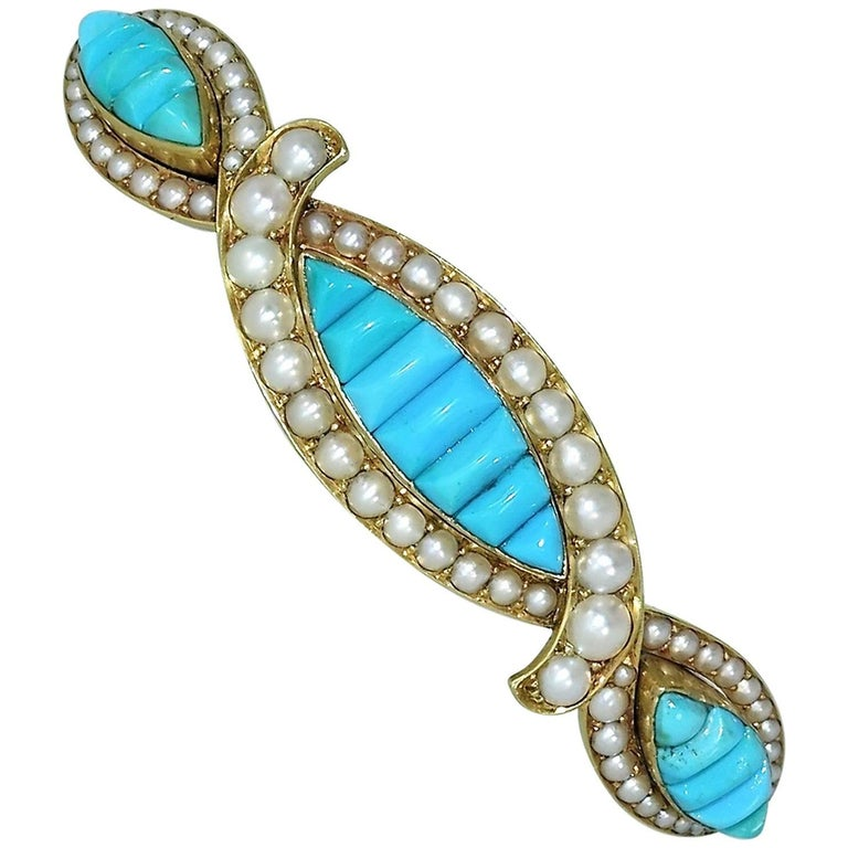 Victorian Natural Persian Turquoise Hair Barrette