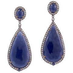 Sliced Sapphire Earring with Diamonds