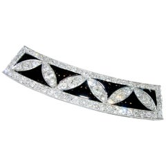 Art Deco Diamond and Onyx and Platinum Hair Barrette