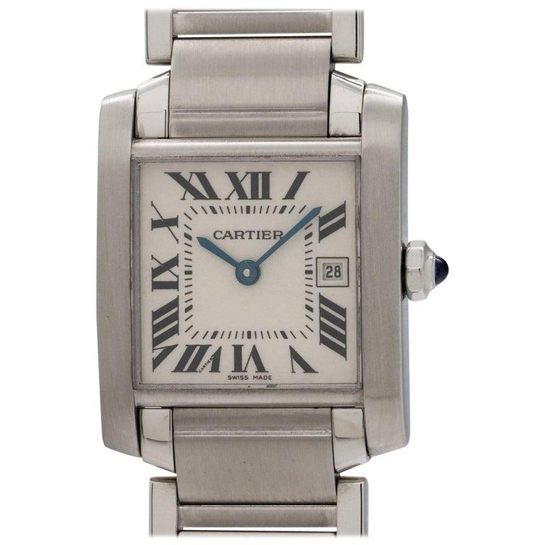 Cartier Stainless Steel Tank Francaise Midsize Quartz Wristwatch, circa 2000s