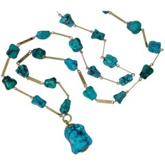 Persian Turquoise and Gold Sautoir