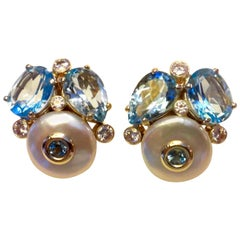 Michael Kneebone Blue Topaz Button Pearl Diamond Confetti Earrings