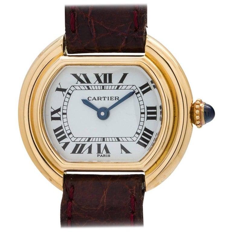 Cartier Ladies Yellow Gold Vendome Manual Wristwatch, circa 1970s