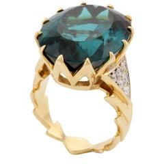 28.16 Carat Tourmaline Diamond CHEVRON Ring by John Landrum Bryant