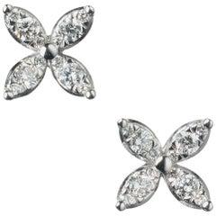 Kwiat Petite Star Diamond Stud Earrings in 18 Karat White Gold