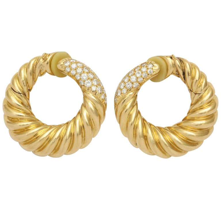 Van Cleef & Arpels Diamond Gold Hoop Earrings with Clips For Sale