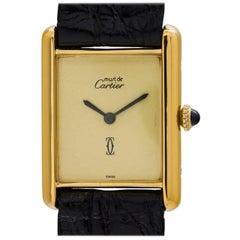 Cartier Vermeil Must de Cartier Sweet Cream Dial Manual Wristwatch, circa 1970s