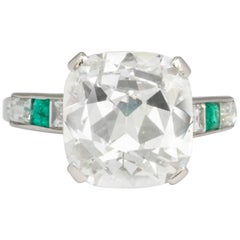Art Deco GIA Certified 5.27 Carat Cushion Cut Diamond Emerald Engagement Ring