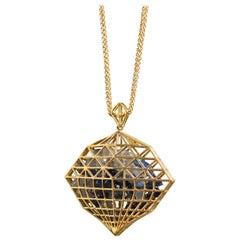 Lauren Harper Sapphire, 18 Karat Gold Shaker Statement Pendant Necklace