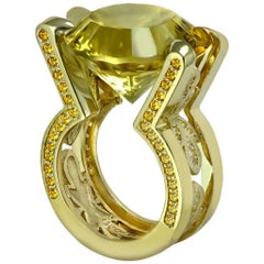 Alex Soldier Citrine Sapphire Yellow Gold Cocktail Ring One of a Kind Handmade