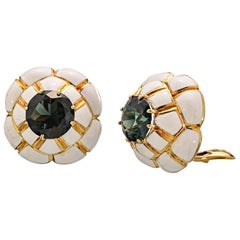 David Webb Tourmaline Ivory Enamel Gold Earrings