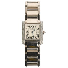Cartier Ladies 18K White Gold & Diamond Tank Francaise Mid Size Wristwatch