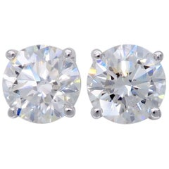 2.04 Carat Round Brilliant Cut Diamond Stud Earrings