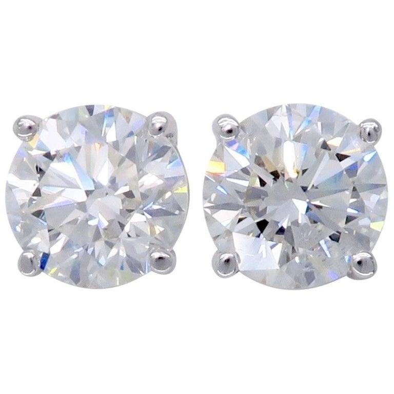 2.04 Carat Round Brilliant Cut Diamond Stud Earrings