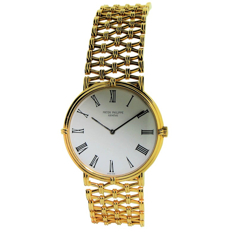 Patek Philippe Yellow Gold Screw Back Bracelet Manual Watch, circa 1970s For Sale