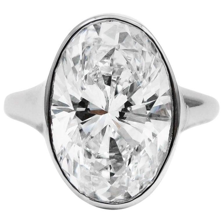 Bulgari GIA Certified 5.37 Carat Oval Diamond F VVS2 Solitaire Platinum Ring