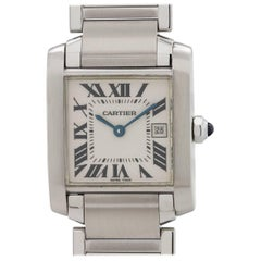 Cartier Stainless Steel Tank Francaise Midsize Quartz Wristwatch, circa 2000