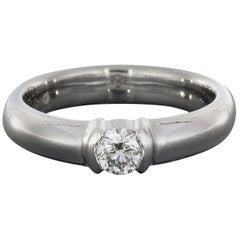 Tiffany & Co. Ideal Round Diamond Etoile Semi-Bezel Platinum Engagement Ring