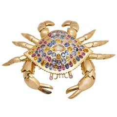 Impressive Multi-Color Sapphire Crab Brooch