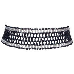 Woven Black Spinel and White Pearl Choker with a 14k White Gold Plated Clasp