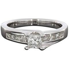 14 Karat White Gold Floating Channel Princess Cut Diamond Engagement Ring