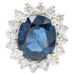 Contemporary 10.09 Carat Unheated Sapphire and Diamond Ring